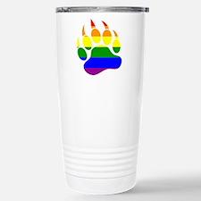 Gay Bear Pride Rainbow Flag Bear Paw Travel Mug