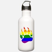 Gay Bear Pride Rainbow Flag Bear Paw Water Bottle
