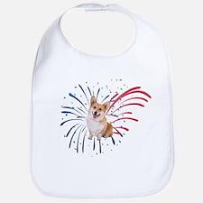 4th of July Corgi with Fireworks Bib