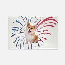 4th of July Corgi with Fireworks Magnets