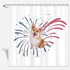 4th of July Corgi with Fireworks Shower Curtain
