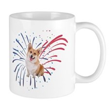 4th of July Corgi with Fireworks Mugs