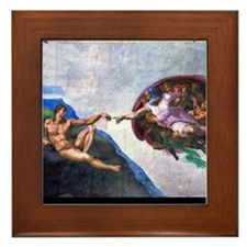 Michelangelo: Creation of Adam Framed Tile