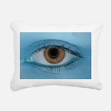 Brown Eye on Blue Rectangular Canvas Pillow