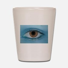 Brown Eye on Blue Shot Glass