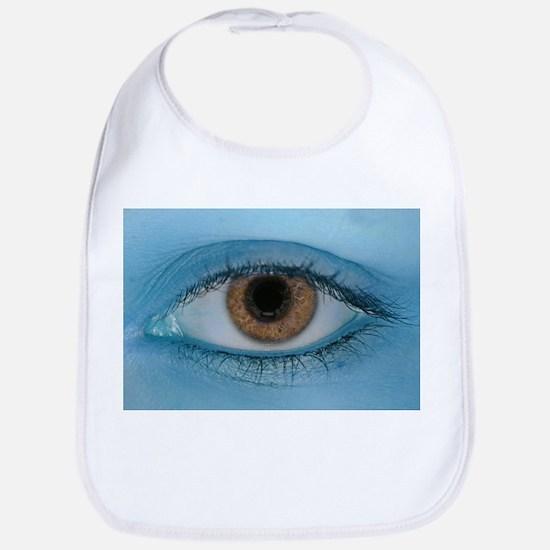 Brown Eye on Blue Bib