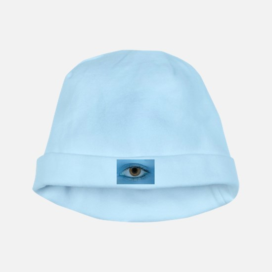 Brown Eye on Blue baby hat