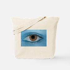 Brown Eye on Blue Tote Bag