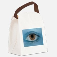 Brown Eye on Blue Canvas Lunch Bag