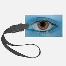 Brown Eye on Blue Luggage Tag