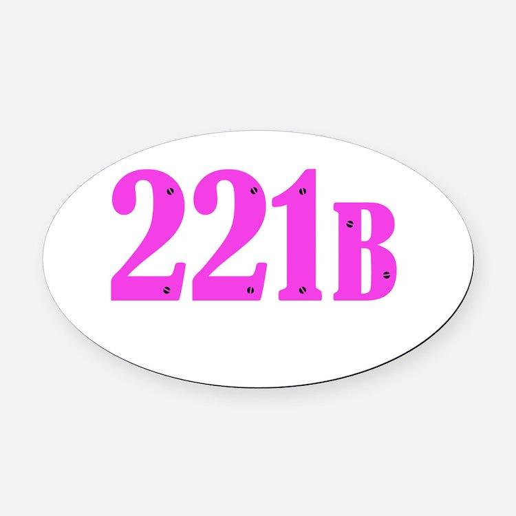 221 B Pink Oval Car Magnet