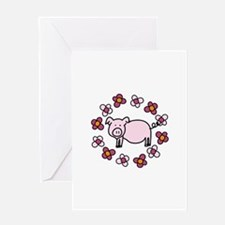Flower Floral Miss Piggy Pig Animal Greeting Cards