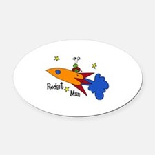 Rocket Man Oval Car Magnet