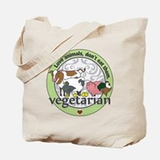 Love Animals Dont Eat Them Vegetarian Tote Bag