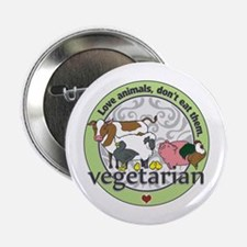 "Love Animals Dont Eat Them Vegetarian 2.25"" B"