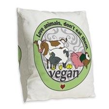 Love Animals Dont Eat Them Veg Burlap Throw Pillow