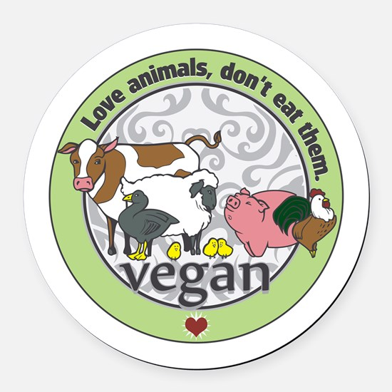 Love Animals Dont Eat Them Vegan Round Car Magnet