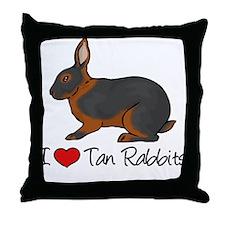 I Heart Tan Rabbits Throw Pillow