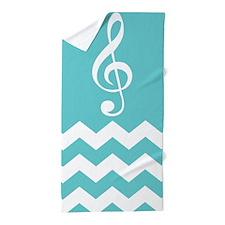 Music Treble Clef Chevron Beach Towel