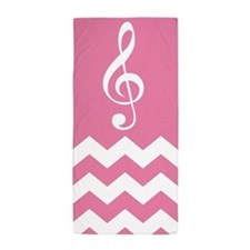 Cute Music Gift Chevron Treble Beach Towel