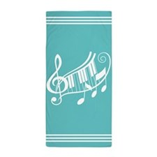 Music Staff and Notes Striped Beach Towel
