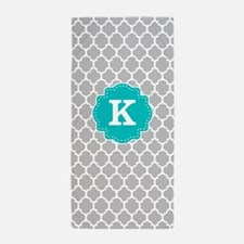 Gray Teal Quatrefoil Monogram Beach Towel