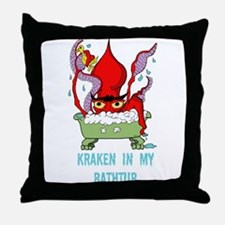 Bathtub Kraken Cartoon Throw Pillow