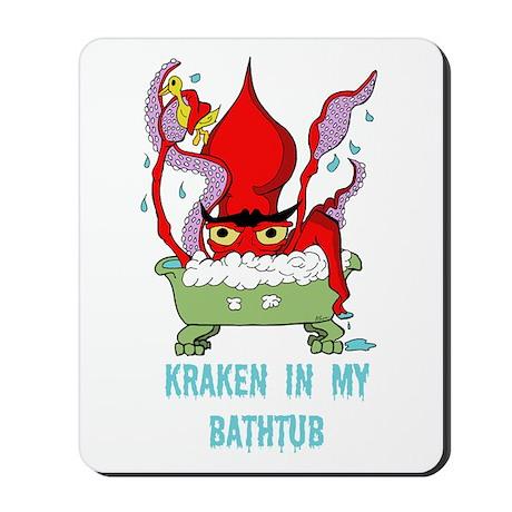 Bathtub Kraken Cartoon Mousepad