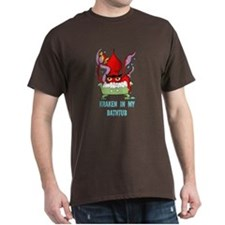 Bathtub Kraken Cartoon T-Shirt