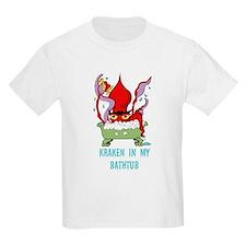 Bathtub Kraken Cartoon T-Shirt