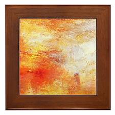 William Turner Sun Setting Over A Lake Framed Tile