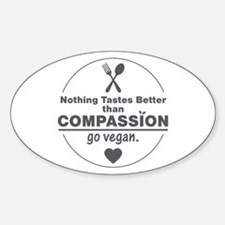 Vegan Nothing Tastes Better Than Co Sticker (Oval)