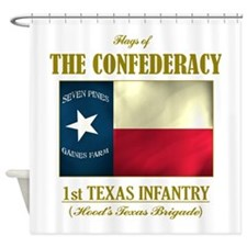 1st Texas Inf (Flag 3).png Shower Curtain