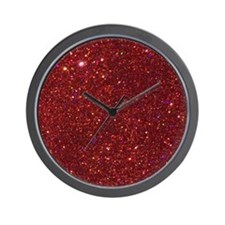 Red Glitter Wall Clock