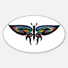 Colorful Tribal Butterfly Tat Oval Decal