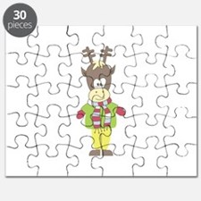 Dressed Christmas reindeer Rudolph Puzzle