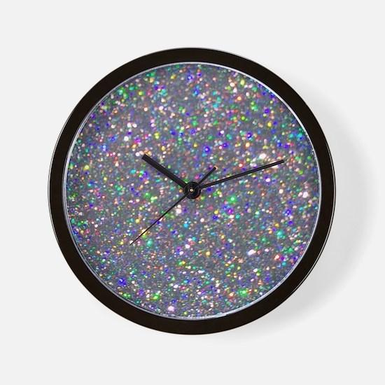 Silver Glitter Wall Clock