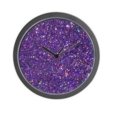 Purple Glitter Wall Clock
