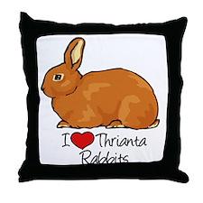 I Heart Thrianta Rabbits Throw Pillow