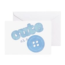 Cute As A Button II Blue Greeting Cards (Package o