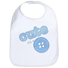 Cute As A Button II Blue Bib