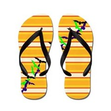 Bats on Candy Corn Stripes Flip Flops