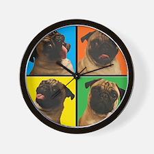 PUG SQUARES Wall Clock