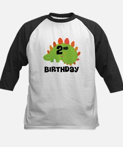 2nd Birthday Dinosaur Kids Baseball Jersey