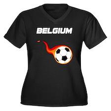 Cute Belgium soccer Women's Plus Size V-Neck Dark T-Shirt