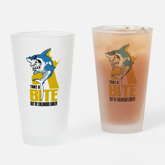 Bite Out Of Childhood Cancer Drinking Glass