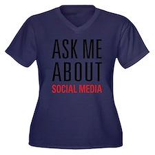 Social Media Women's Plus Size V-Neck Dark T-Shirt
