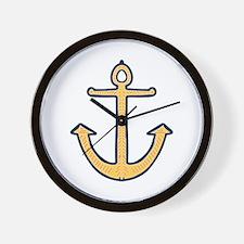 Yellow Nautical Anchor Wall Clock