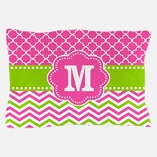 Pink Green Chevron Quatrefoil Monogram Pillow Case