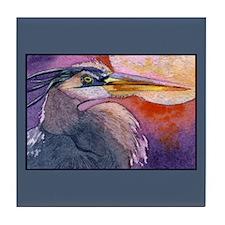 Red Sky Heron Tile Coaster